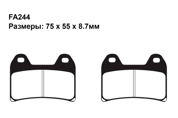 Тормозные колодки FA244 на BMW F 800 ST (С обтекателем) 2008-2012 передние