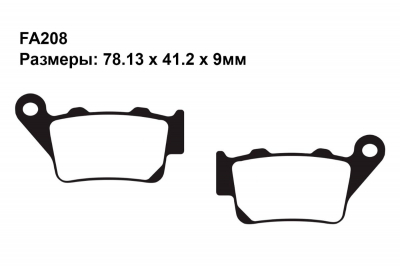 Комплект тормозных колодок FA181|FA208 на BENELLI BX 449 Cross (449 куб.см.) 2007-2012