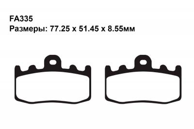 Тормозные колодки FA335 на BMW K 1200 RS (С интнральной и Без интегральной ABS) 2001-2004 передние